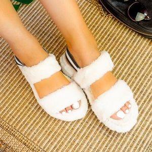 White fur double strap sandal